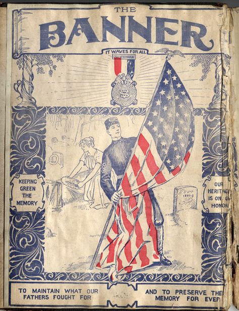 A Brief History of Camp 12, Sons of Veterans of Altoona Division of Penna - U.S.A. (1882 - 1919); The Banner – It waves for all; H. G. Detwiler Scrapbook; original colored ink print within the scrapbook | Flickr - Photo Sharing!