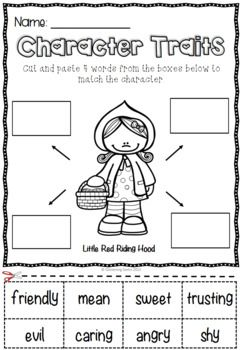 Little Red Riding Hood Character Traits Activities Fairy Tales