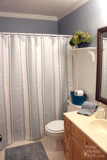Vintage Styled Grey And White Vertical Striped Shower Curtain Attached On Rode With Door Mat