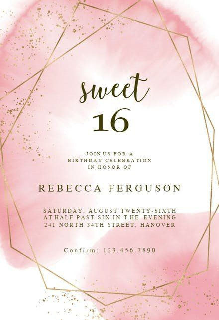 Free Sweet 16 Invitation Templates Sweet 16 Party Invitations 16th Birthday Invitations Boy Birthday Invitations