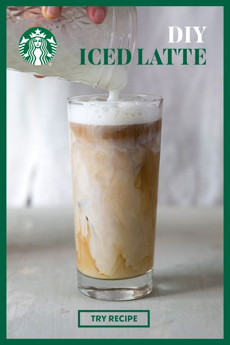 Enjoy this iced take on one of the most iconic espresso drinks. With no steamer needed, all you need to do is shake up some milk and sweetener in a mason jar for a delicious foam topping to complete the perfect at-home iced latte. Starbucks Recipes, Starbucks Drinks, Starbucks Coffee, Iced Latte Starbucks Recipe, Starbucks Pumpkin, Non Alcoholic Drinks, Fun Drinks, Yummy Drinks, Gastronomia
