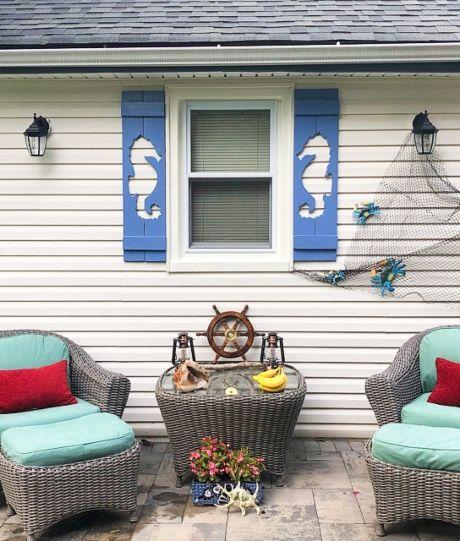 Decorative Coastal Window Shutters For Curb Appeal Wood Shutters Exterior Window Shutters Exterior Patio Decor