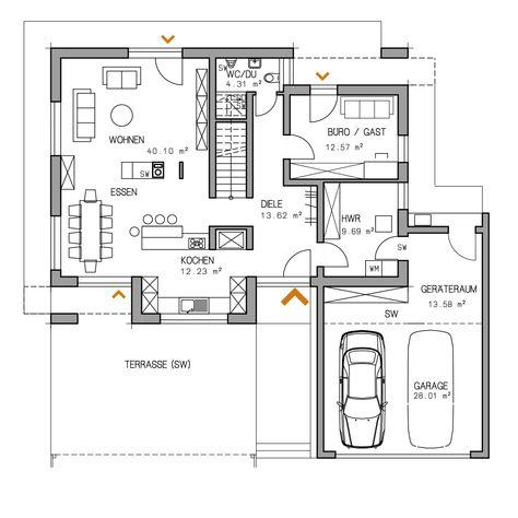 219 best Alaprajzok images on Pinterest Blueprints for homes - plan maison 170 m2 plain pied
