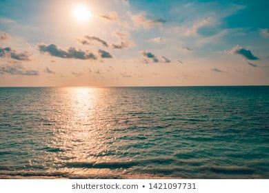 Inspirational Calm Sea With Sunset Sky Meditation Ocean And Sky Background Colorful Horizon Over The Water Ca Beach Scenery Beach Landscape Beach Background