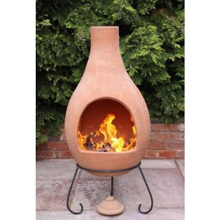 Clay KD Chiminea With Iron Stand (Scroll) | Chiminea And Gardens
