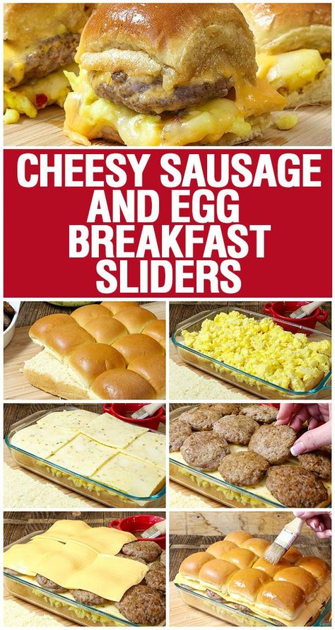 Cheesy Sausage and Egg Breakfast Sliders are a fully loaded perfectly portable h. - Cheesy Sausage and Egg Breakfast Sliders are a fully loaded perfectly portable hand held breakfast. Breakfast Slider, Breakfast And Brunch, Breakfast Dishes, Breakfast Tailgate Food, Breakfast Ideas With Eggs, Breakfast Appetizers, Breakfast Sandwich Recipes, Easy Brunch Recipes, Camping Breakfast