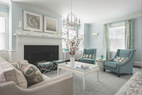 """Designer Jocelyn Chiappone used Farrow & Ball's """"Borrowed Light"""" paint color on the walls and incorporated furniture with clean lines to give the home a modern seaside vibe."""