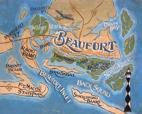 Art Print Beaufort Nc Crystal Coast Map Print Carteret County