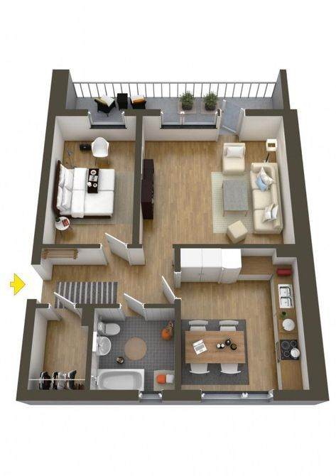 40 More 1 Bedroom Home Floor Plans Small House Floor Plans House Floor Plans House Plans