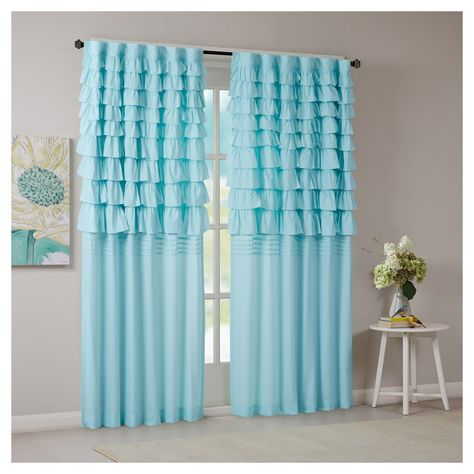 Marley Ruched Curtain Panel Aqua 50 X63 Curtains Panel