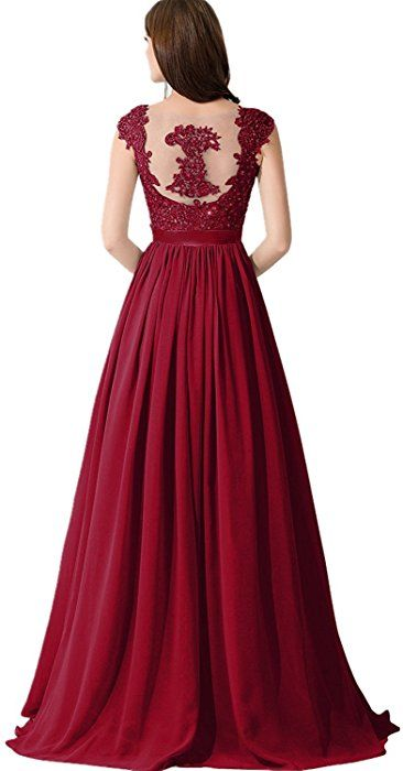 Babyonline Womens Burgundy Lace Chiffon Maxi Evening