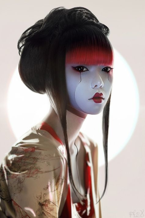 Geisha I By Flexdreams Hair Styles Geisha Art Art - Geisha I By Flexdreams Source By Vintagerose What Others Are Saying Sabine Wears This When She Has To Go Out In Public When She Wants To Be Noticed Geisha Make-up, Geisha Kunst, Geisha Tattoos, Hairstyles With Bangs, Trendy Hairstyles, Makeup Tumblr, Makeup Art, Makeup Ideas, Makeup Eyebrows