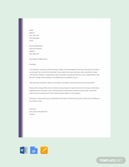 Complaint Letter To Landlord About Repair Template Free Pdf Google Docs Word Template Net Being A Landlord Lettering Complaint Letter