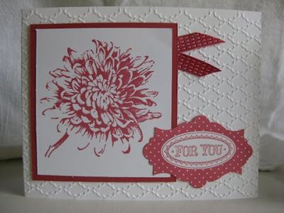 Stamp & Scrap with Frenchie--uses Stampin Up's new Primrose ink pad and fanfold embossing folder. Love it!