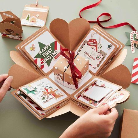 Gift Card Boxes, Paper Gift Box, Small Gift Boxes, Paper Gifts, Small Gifts, Explosion Box Design, Explosion Box Tutorial, Box Noel, Christmas Diy