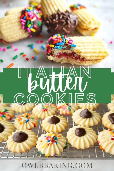 Italian Butter Cookies, Butter Spritz Cookies, Spritz Cookie Recipe, Bakery Butter Cookies Recipe, Pizzelle Recipe, Cookie Butter, Italian Christmas Cookie Recipes, Butter Cookies Christmas, Dessert