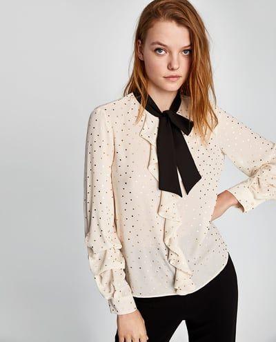 Blusa Lunares Dorados Lazo última Semana Mujer Zara México Women Shirts Blouse Long Tops Blouse
