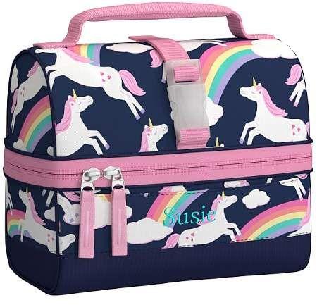 Mackenzie Navy Rainbow Unicorn Lunch Box #affiliate #unicorn