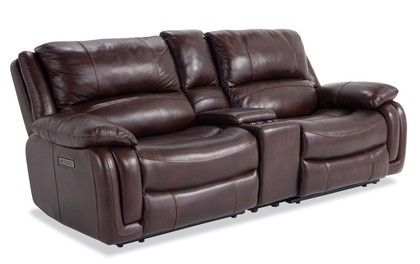 Titan Brown Leather Power Reclining Console Loveseat Power Recliners Recliner Love Seat