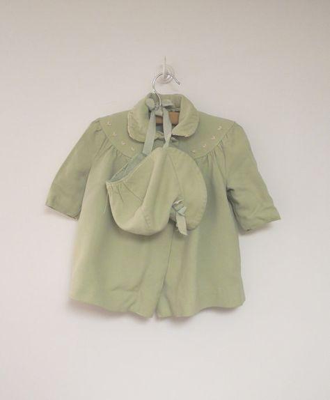93979dba067 1950's Sears and Roebuck Honeysuckle Mint Green Swing Coat and Bonnet - $59