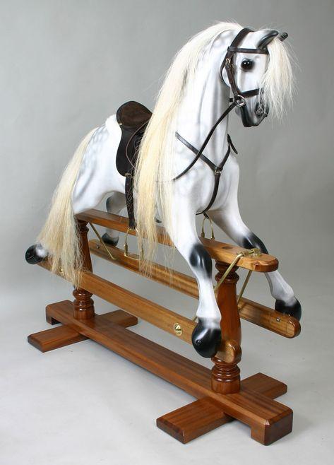 DOLLS HOUSE FREESTANDING SILVER STALLION HORSE  ON MAHOGANY BASE ORNAMENT