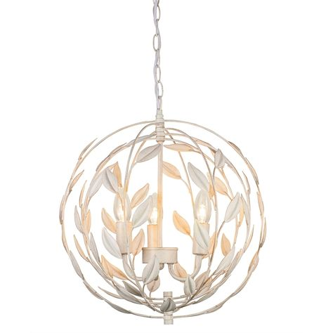 Luciana Distressed Leaf Globe Pendant Light Living Room