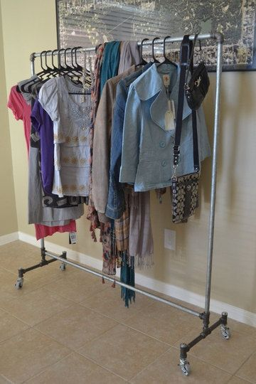 diy clothes rack all pipes and 4 wheels