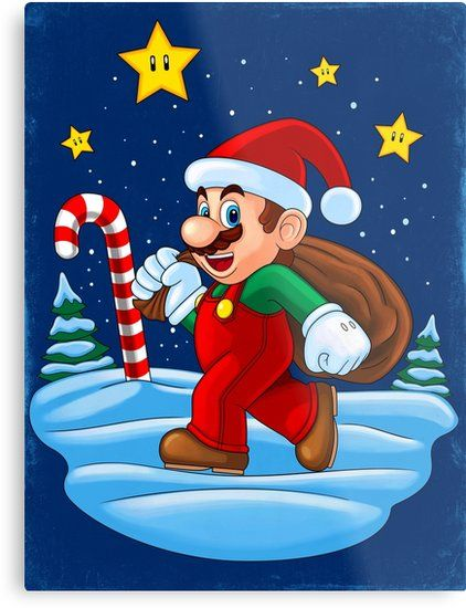Christmas Themed Design With Mario Dressed As Santa Claus Software Used Corel Draw Photo Paint Painter Also Buy This Artwork Cartoon Posters Mario Remus