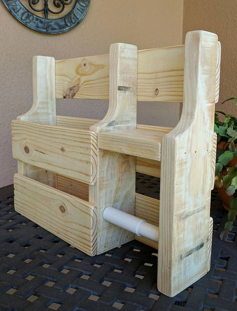 Rustic Magazine Rack Toilet Paper Holder Made From Reclaimed And Repurposed Pallet Wood Rustic Magazine Racks Repurposed Pallet Wood Wood Pallet Projects