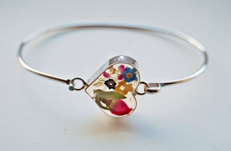 Rose Bracelet Resin Jewelry Sterling Silver Natural Botanical Romantic Red Rose Heart