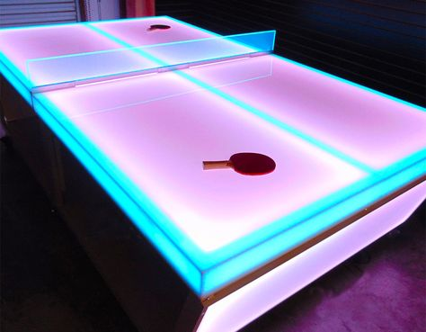 LED Lighted Ping Pong Tables for rent from Video Amusement feature individual color changeable light up sections, borders and the net with multiple colors. Ping Pong Bar, Table Ping Pong, House Party Decorations, Light Games, 18th Birthday Party, Neon Aesthetic, Neon Party, Pool Toys, Bar Mitzvah