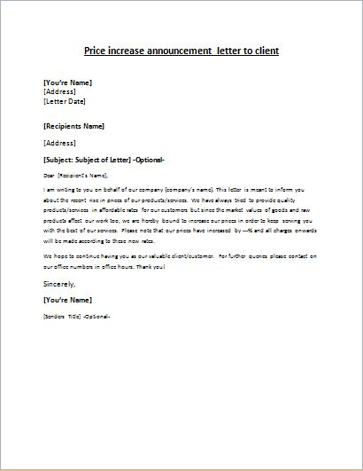 Price increase announcement letter to client Letter  price increase