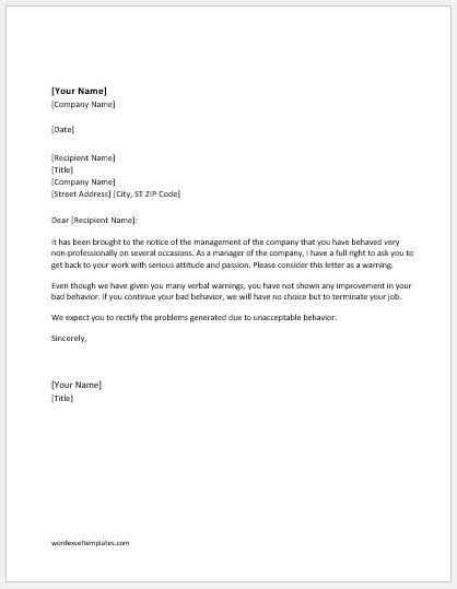 Warning Letter For Unacceptable Behavior At Work Lettering Cover Letter Design Letter Example