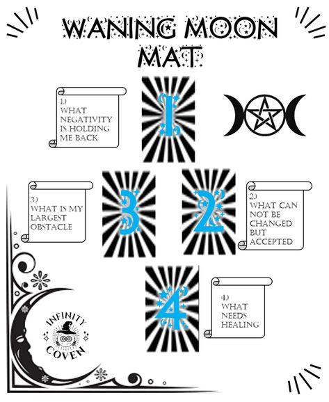 This Tarot Mat Digital Download is only $2.00 and was designed to complement your Tarot reading practice. These questions will help to guide your way through the powerful Waning Moon phase. We also offer a laminated version of this mat to protect it from all the things you use in your tarot craft; water, oils, candle wax, herbs etc. #JoinInfinityCoven #InfinityCoven #TarotMat #TarotSpread #Tarot #TarotPractice #TarotLayout #TarotReader #Witch #Divination #WaningMoon