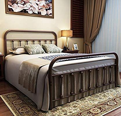 Amazon Com Urodecor Metal Bed Frame Queen Size Headboard And
