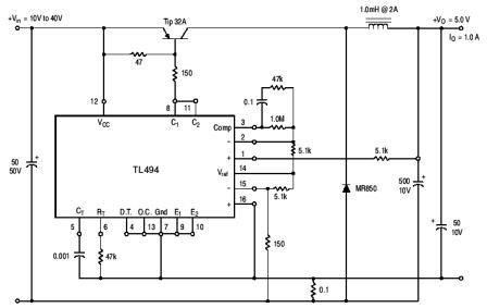 Tl494 Pulse Width Modulated Step Down Converter Circuit Schematic Jpg 448 283 Circuit Converter Dc Circuit