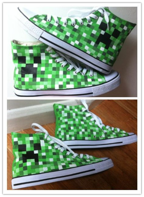 Minecraft custom hand painted canvas shoes http://www.aliexpress.com/store/product/Mosaic-art-custom-hand-painted-canvas-shoes-fashion-star-lovers-unisex-men-women-high-top-breathable/1768014_32592968192.html