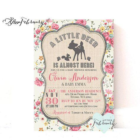 Woodland Baby Shower Invitation - Deer Baby Shower Cottage Chic Floral - Custom Font Color -  Printable No.698