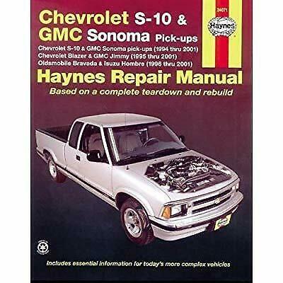 Advertisement Ebay Haynes Chevrolet S 10 And Gmc Sonoma Pick Ups 94 01 Manual In 2020 Chevrolet S 10 Repair Manuals Repair