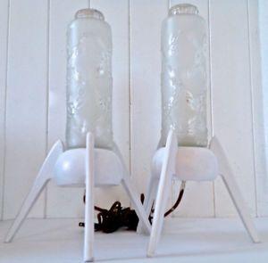 Vintage Collection Ensemble De 2 Lampes En Verre Et Bois Peint L Lamp Novelty Lamp Lava Lamp