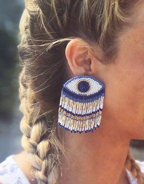 Evil Eye Long Earrings Blue/White by Olivia Dar