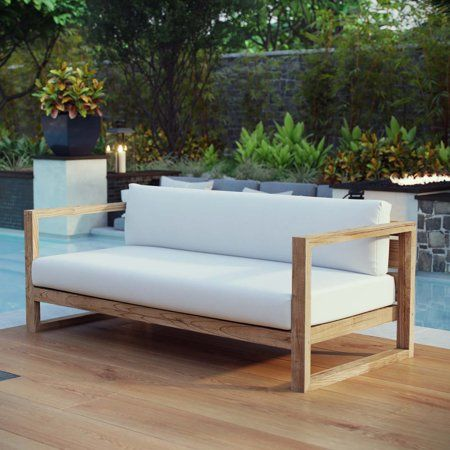 Modway Upland Outdoor Patio Teak Sofa In Natural White Size 63 5