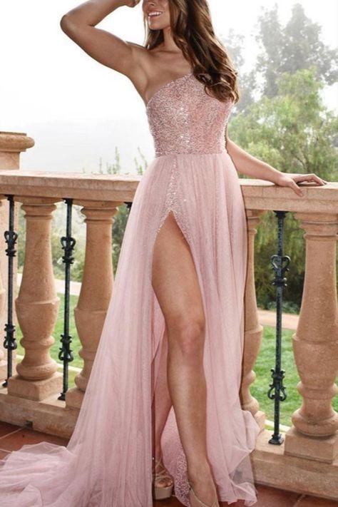 A-Line One-Shoulder Long Prom Dress Formal Evening Dresses #pinkpromdress #longpromdresses #partygowns