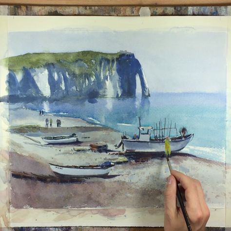 Watercolor painting demonstration of a beach scene and seascape. The painting shows two fishermen who towed their boat onto the beach of Etretat, Normandy. #watercolor #watercolour #seascape #beachscene #boatpainting #painting #aquarelle #watercolorvideo #wallart