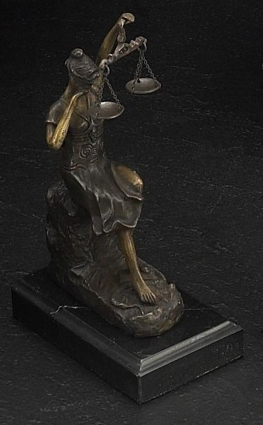 Crying Lady Justice Bronze Sculpture on Marble Base T.P.