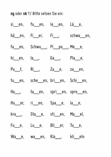 Wörter mit ng