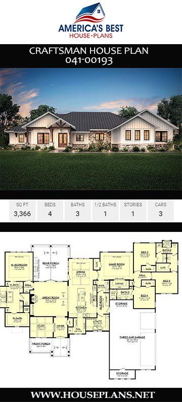 House Plan 041 00193 Craftsman Plan 3 366 Square Feet 4 Bedrooms 3 5 Bathrooms Craftsman House Plans Craftsman House Craftsman House Plan