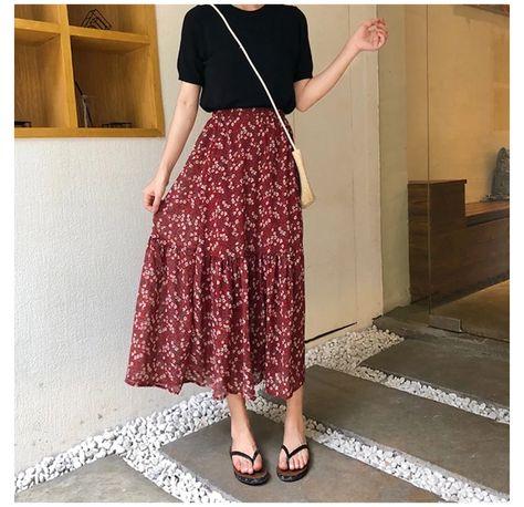long skirt outfits for summer korean