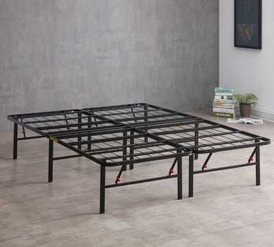 Deluxe Raised Metal Platform Frame Easy Assembly Steel Bed
