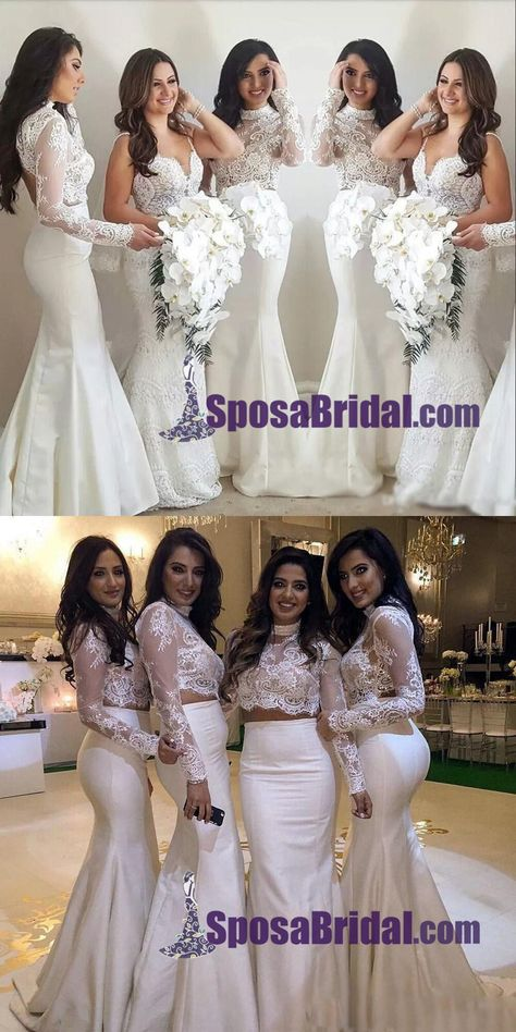 New Design Two Pieces Mermaid Bridesmaid Dresses, Long Sleeves White High Neck Open Back Prom Dresses,
